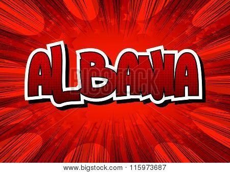 Albania - Comic Book Style Word.