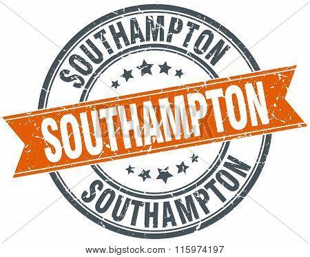Southampton orange round grunge vintage ribbon stamp