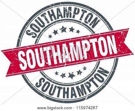 Southampton red round grunge vintage ribbon stamp