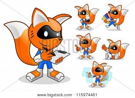 Set Of Robot Fox Assistant