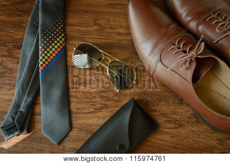 Men Outfit Accessories, Leather Shoes, Necktie