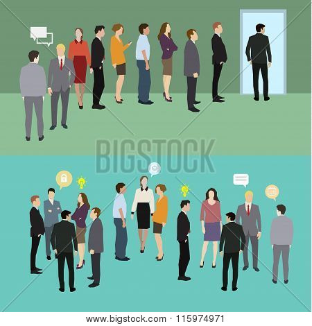 Business people standing in a line.