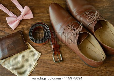 Bowtie, Brown Leather Shoes, Pocket Square