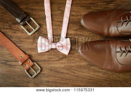 Men Outfit Leather Shoes Belt Bowtie