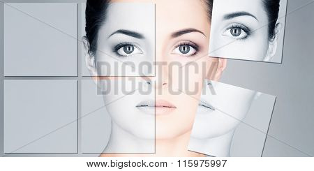Portrait of young and healthy woman. Face lifting, plastic surgery and cosmetology puzzle.