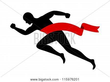 man running and red ribbon, vector