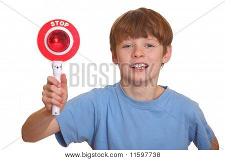 Boy Shows Stop Sign