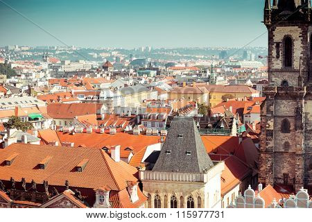 Houses with traditional red roofs in Prague Old Town Square in the Czech Republic