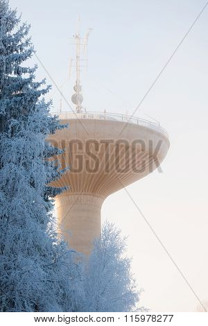 Water tower in cold winter weather
