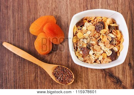 Portion Of Muesli, Linseed And Dried Apricot, Concept Of Healthy Nutrition And Increase Metabolism