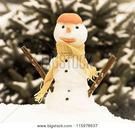 Vintage Photo, Snowman With Woolen Scarf And Tangerine Peel, Winter Season Concept
