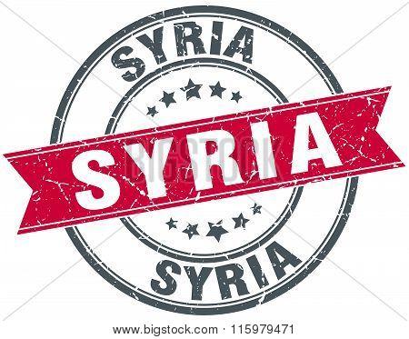 Syria red round grunge vintage ribbon stamp