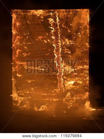 Part of a House on Fire. Window view to Fire Inside Wooden Old H