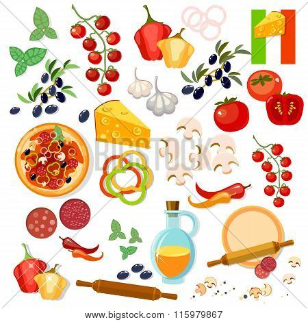 Pizza Ingredients Italian Pizza Vector Collection