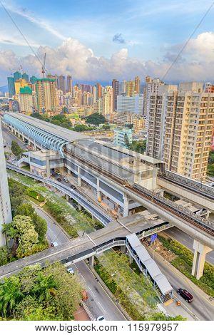 hong kong urban downtown and sunset speed train, Yuen Long Long Ping