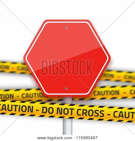 Vector Road Stop Sign with Yellow Police Strip. Realistic Vector