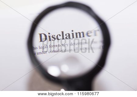 Disclaimer Written On Document
