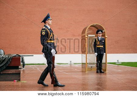 Post honor guard at the Eternal Flame in Moscow, Russia