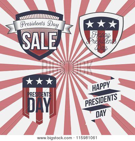 Presidents Day vector patriotic Labels Set