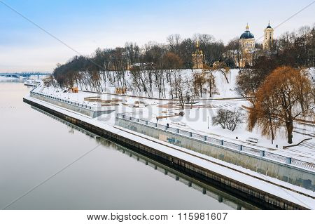 Sozh river embankment near the Palace and Park Ensemble in Gomel
