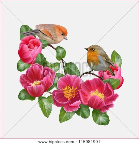 Two Little Birds And The Composition Of Red Flowers
