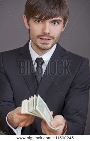 Man With Bunch Of Dollars