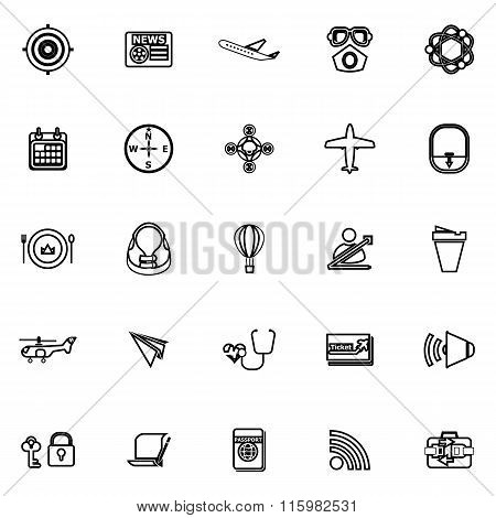 Air Transport Related Line Icons On White Background