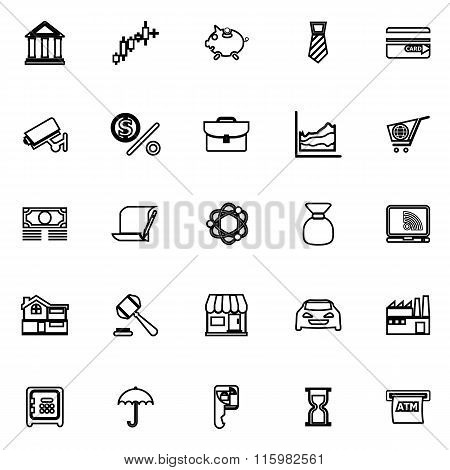 Banking And Financial Line Icons On White Background