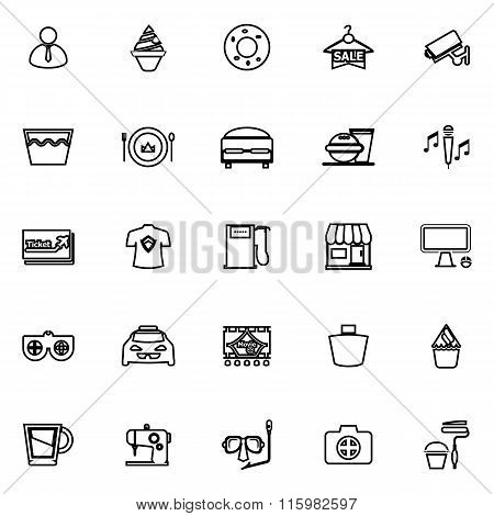 Franchisee Business Line Icons On White Background