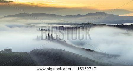 Tuscany Morning, foggy rural view