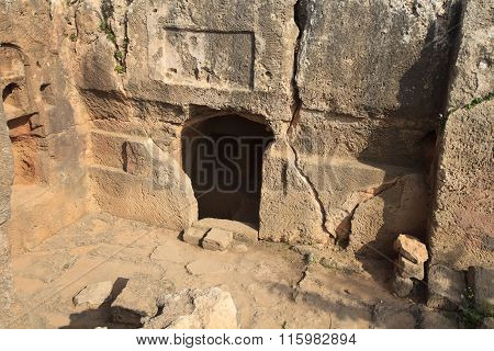 Entrance To The Stone Tombs Of The Kings In Paphos. Cyprus