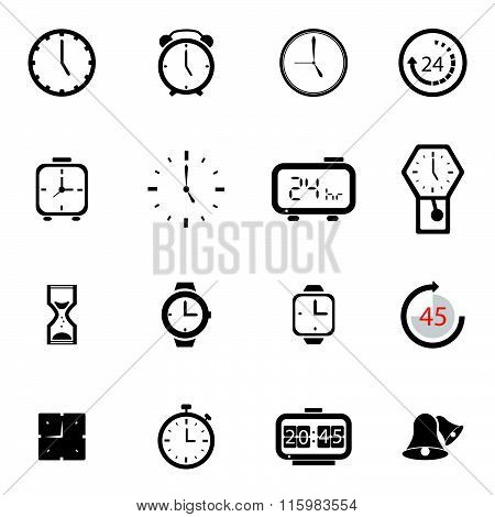 Alarm clock icon sets vector symbol.
