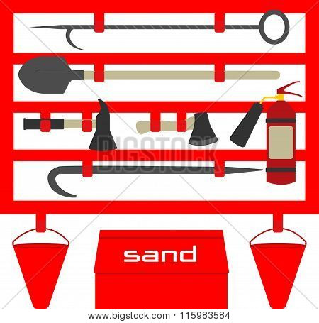 Fire Stand,flat Style Illustration. Vector Symbols. Vector Illustration