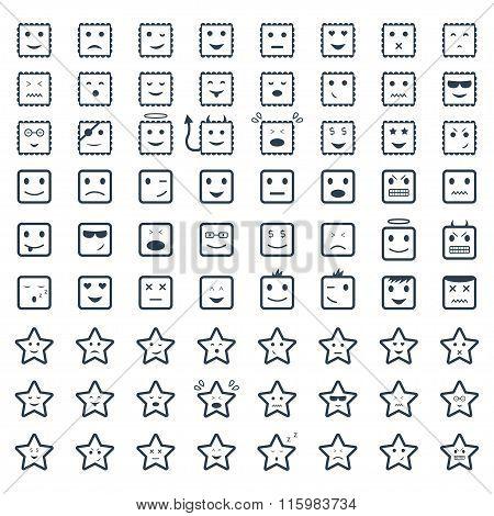 Big Set Smile,vector Icon.vector Symbols. Vector Illustration