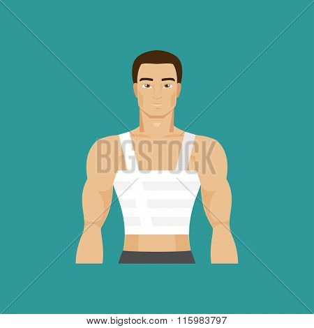 Bandaged Chest. Vector Illustration