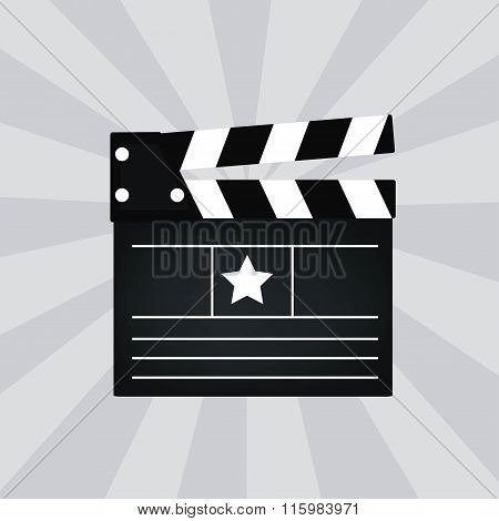 Black cinema clapper isolated vector illustration.