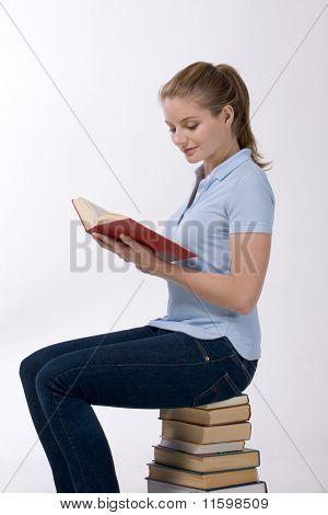 High School Schoolgirl Student Reading Book