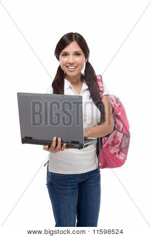 College Student Young Hispanic Woman With Laptop