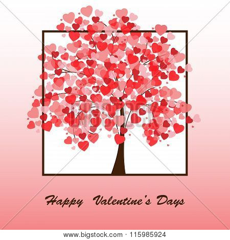 illustration of a tree covered with hearts.