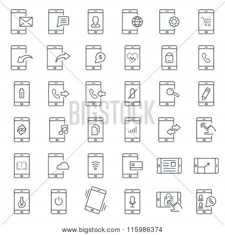 Mobile Function Outline Icon Set.vector Symbols. Vector Illustration