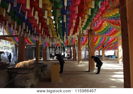 Bongeunsa Temple Pray With Colorful Lantern Paper