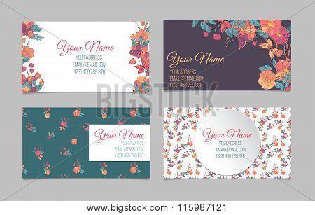 Set of four floral visit cards