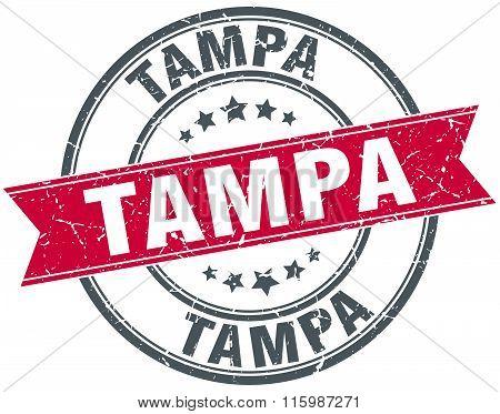 Tampa red round grunge vintage ribbon stamp