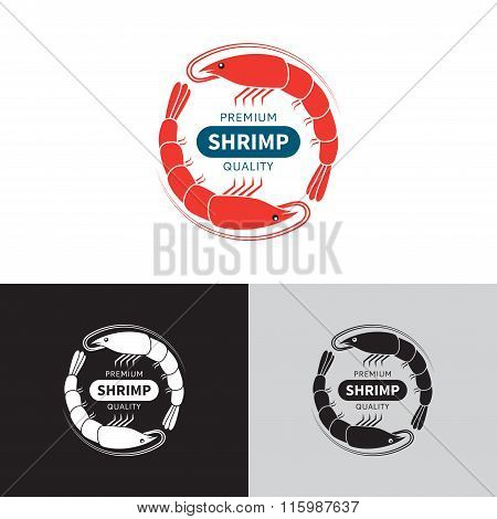 Shrimp logo template.