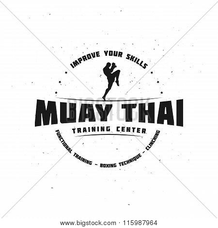 Combat Sport and Fitness Emblem with a Fighter. Muay Thai Training Center.