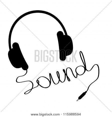 Black Headphones With Cord In Shape Of Word Sound. Music Card.