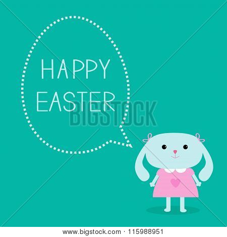 Easter Bunny Girl And Dash Line Egg Bubble. Card.