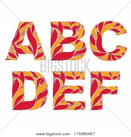 Retro Uppercase Letters With Herbal Autumn Seasonal Ornament. Fiery Font With Floral Pattern, A, B,