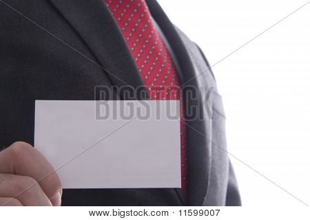 Business Man Showing Business Card