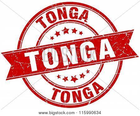 Tonga red round grunge vintage ribbon stamp